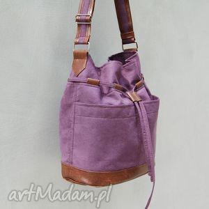 yocca - torba worek śliwka i brąz, worek, swobodna, wygodna, modna, wyjątkowa