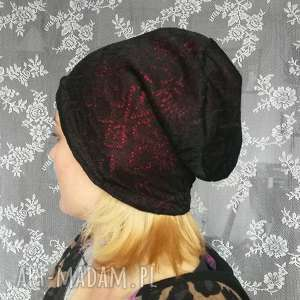 czapka koronkowa czarna na czerwonej podszewce, czapka, etno, boho, koronka