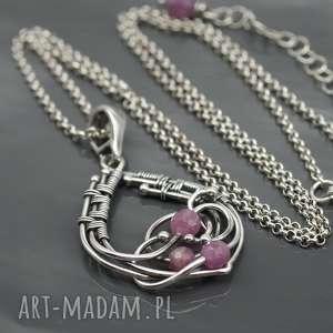 srebrny wisiorek z rubinami - waves, srebro, wire wrapping, rubin, wisior, naszyjnik