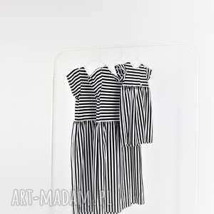 Sukienki dla mamy i córki paski bialo czarne, mama, paski, córka