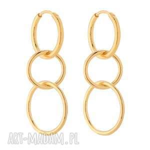 Złote długie kolczyki potrójne koła - ,koła,kółeczka,podwójne,modowe,klasyczne,złote,