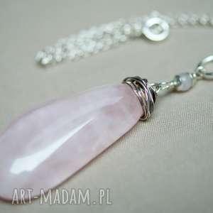 b2b3275d8520ae ... naszyjnik ze srebra i różowego kwarcu, srebro, delikatny, kobiecy,  elegancki