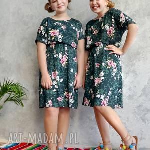 HANKA! Sukienka zielona w różowe kwiaty