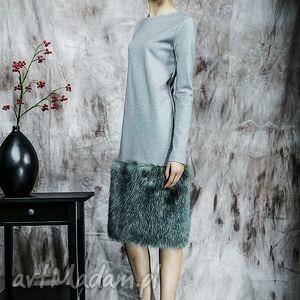 Zimowa sukienka z futrem, sukienka, futro, zima, dzianina