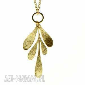 hand-made naszyjniki naszyjnik ze złocistymi listkami c683