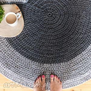 dywan ze sznurka bawełnianego 110 cm, szary, dywan, chodnik, sznurek, szydełko