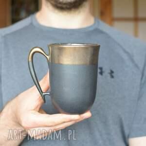 kubek ceramiczny czarny mat i złoto 325ml, kubek, ceramiczny