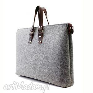 męska filcowa torba ul szeroka, filc, skóra, męska, unisex, duża, laptop torebki