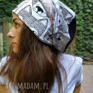 czapka damska w misie smerfetka bawełna, czapka, etno, boho, misie, sport, bawełna