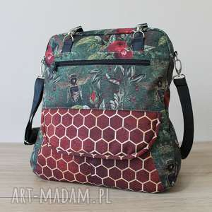 plecak torba listonoszka - pszczoły na zielonym tle, elegancka, nowoczesna