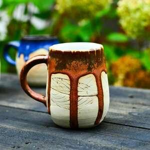 Jesienny kubek z liściem - duzy miedziany 420 ml handmade