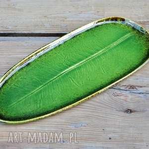 ceramika patera talerz dekoracyjny z liściem chrzanu, ceramika, patera