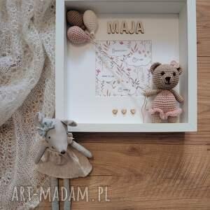 metryczka narodzin dziecka - różowy miś narodziny dziecka, prezent