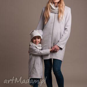 komplet wiosennych płaszczyków mama i córka - płaszczyk, zamsz
