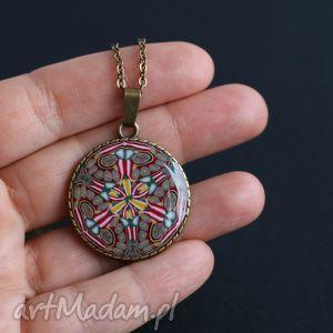 Mandala naszyjnik, mandala, medalion, wisiorek, łańcuszek, długi