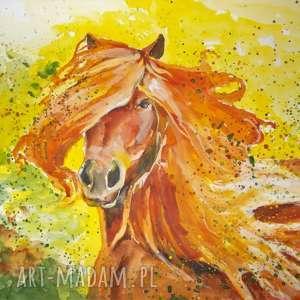 rude szczęście obraz akwarelami artystki plastyka adriany laube, akwarela, koń, rudy