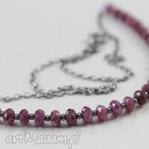 Rubiny i srebro - naszyjnik, rubin, srebro, łańcuszek, biżuteria