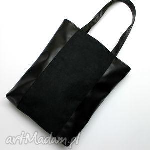 szoperka - czarna, elegancka, nowoczesna, handmade, prezent, zakupy, shopper