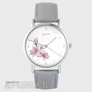 yenoo zegarek - różowa lilia szary, skórzany, zegarek, bransoletka