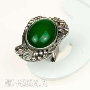 Zielona bryza - pierścionek srebrny a566 , pierścionek, sygnet, agat, kamień, srebro