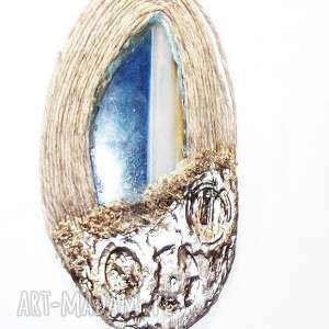 artystyczny agat w sznurku, naszyjnik, wisior, agatowy, niebieski,