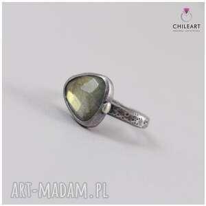 labradoryt i srebro - pierścionek 2897- chileart, labradoryt, srebro