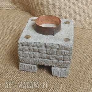 świecznik betonowy z oksydowaną miedzią /2/, świecznik, betonowy, oksydowana