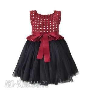 sukienka dziewczęca tiulowa szydełkowa, sukienka, tiulowa