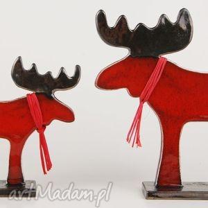 handmade ceramika łoś świąteczny