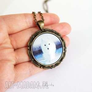 naszyjniki medalion, naszyjnik - biały lis antyczny brąz, duży