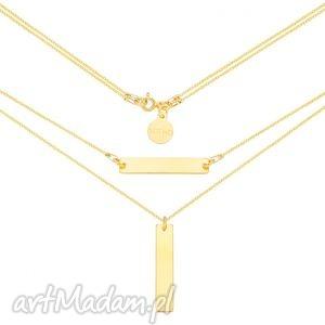 złoty podwójny naszyjnik z prostokątnymi zawieszkami - złote