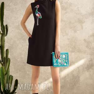 sukienki sukienka z żurawiem, sukienka, naszywka, uniwersalna, żuraw, czarna, midi