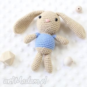 Królik Stefan, królik, maskotka, zabawka, przytulanka, szydełkowa