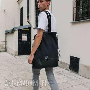 ręcznie zrobione na ramię torba worek czarny 2w1