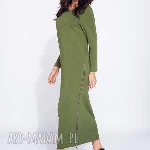 Długa sukienka z rozporkami boku na jesień, maxi, dzienna, wygodna, z-rozporkami