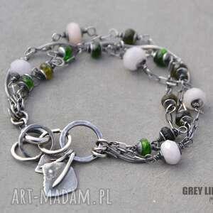 Morganit i zielony turmalin - bransoletka, srebro, 925, minerały, morganit,