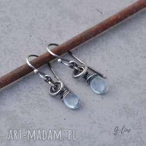 Akwamaryn drobne surowe kolczyki grey line project surowe