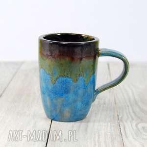 ceramika kubek niebiesko-zielono-brązowy, do kawy, herbaty, kawa, herbata