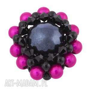 czarno-różowa broszka glamor swarovski® elements - kryształowa