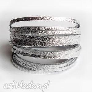Bransoletka skórzana srebrna, skórzana, bransoletka