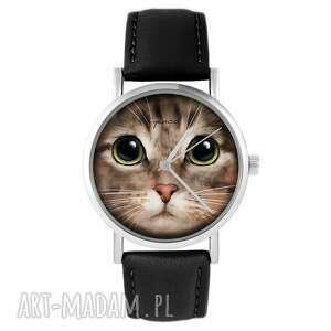 ręcznie robione zegarki zegarek yenoo - kot tygrysek skórzany, czarny