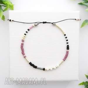 Bransoletka koralikowa Minimal Hematite - Violet and Silver, bransoletki