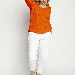 swetry dzianinowa ażurowa bluzka - swe145 pomarańcz mkm