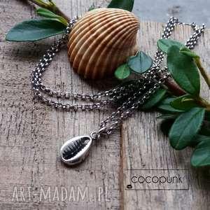 srebro - delikatny naszyjnik z muszelką kauri, srebrny