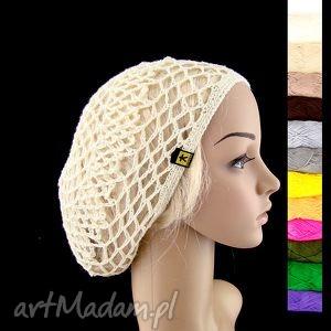 różne kolory do wyboru - czapeczka na plażę:), czapeczka, czapka, beret, ażur, lato