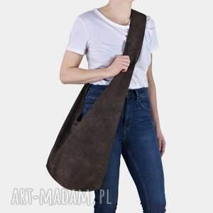 brązowa torba hobo w stylu boho / long boogi bag - do noszenia przez ramię