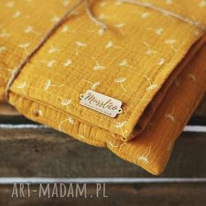 handmade pokoik dziecka muślinowy otulacz - musztardowe dmuchawce