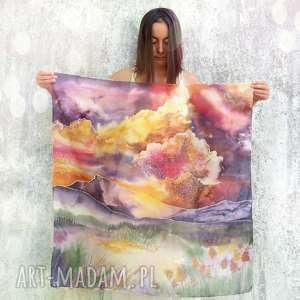 Chusta jedwabna ręcznie malowana zachód słońca chustki i apaszki