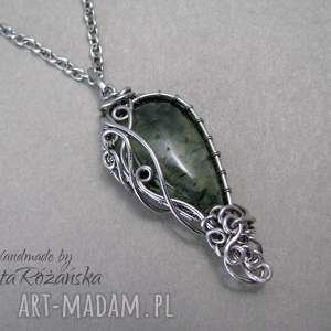 Wisiorek Prehnit, wire wrapping, stal chirurgiczna, prehnit, wire-wrapping
