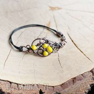 yellow - bransoletka ze szklanymi kryształkami, z miedzi, miedziana
